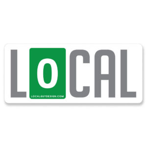 image of product which is a rectangular sticker that says LOCAL with the O mimicking a zero mile marker